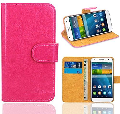 Huawei Ascend G7 Handy Tasche, FoneExpert® Wallet Hülle Flip Cover Hüllen Etui Ledertasche Lederhülle Premium Schutzhülle für Huawei Ascend G7 (Wallet Rosa)