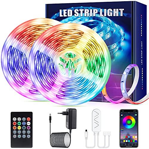 LED Strip Streifen Farbwechsel Lichterkette 12M RGB mit Fernbedienung und Bluetooth Kontroller Sync zur Musik, Anwendung für Schlafzimmer, Party und Feriendekoration[Energieklasse A+]
