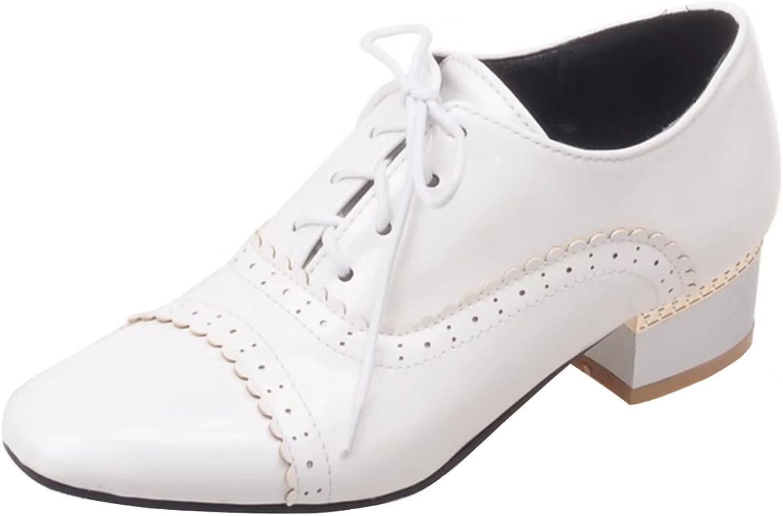 AIYOUMEI Women's Square Toe Pumps shoes Block Heel Lace Up
