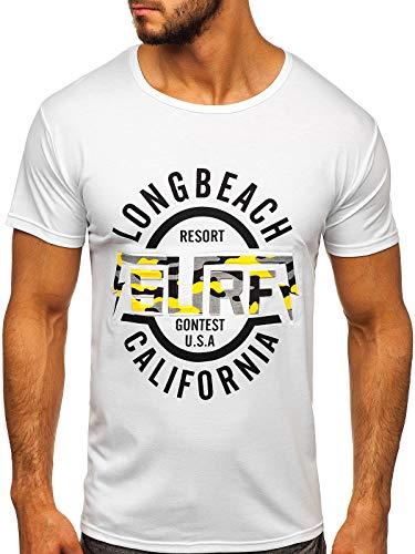 BOLF Hombre Camiseta de Manga Corta T-Shirt Escote Redondo Estampada Crew Neck Camiseta de Algodón Básico Entrenamiento Deporte Print Outdoor Estilo Diario KS2031 Blanco XXL [3C3]