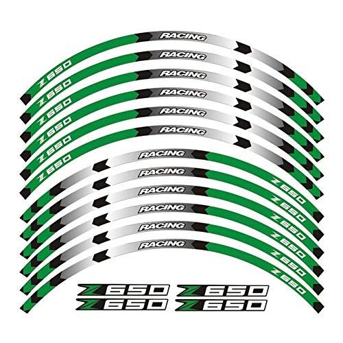 Pegatinas coche moto Venta caliente de la rueda de la motocicleta de 17 pulgadas decals pegatinas reflectantes llanta rayas FIT Kawasaki Z650 Z650 2017 Rueda (Color : 3)