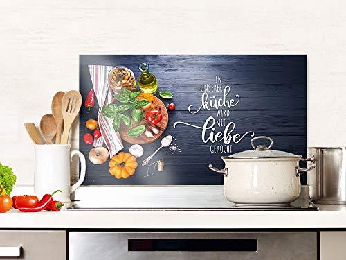 GRAZDesign Spritzschutz Herd Glas Spruch Unsere Küche mit Liebe, grau, Küchenrückwand, Glasplatte / 100x50cm