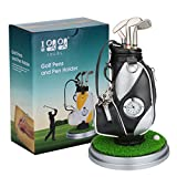10L0L Mini Desktop Aluminum Alloy Golf Bag Pen Holder with Golf pens Clock 6-Piece Set of Golf Souvenir Event Souvenir Novelty Gift