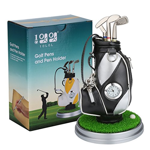 10L0L Mini Desktop Golf Bag Pen Holder with Golf pens Clock 6-Piece Set of Golf Souvenir Tour Souvenir Novelty Gift (Silver and Black)