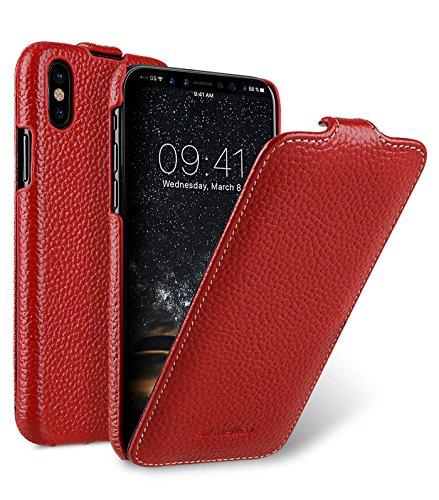 Edle Tasche für Apple iPhone XS & iPhone X / Hülle Außenseite aus beschichtetem Leder / Schutz-Hülle aufklappbar / Flip-Hülle / Etui / ultra-slim / Cover Innenseite aus Textil / Rot