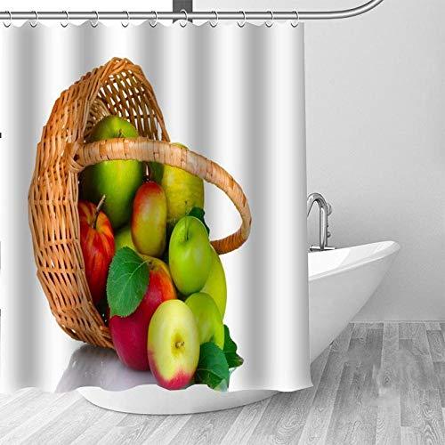 ZHUGEZHIJIA Duschvorhang mit Obstmotiv, doppellagig, mit Haken, wasserdicht, Digitaldruck, Korb, grüner Apfel, Duschvorhang 180 x 200 cm
