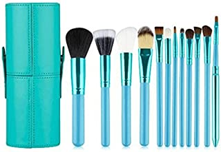 KOLIGHT Set of 12pcs Professional Makeup Brush Sets Cosmetic Makeup Tool Kits with Cup Leather Holder Case (Sky-blue)