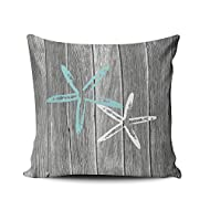 Fanaing Gray and Aqua Turquoise Beach and Starfish Pillowcase Home Sofa Decorative 16X16 Inch Square Throw Pillow Case Decor Cushion Covers One-Side Printed