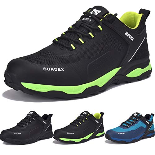 Zapatos de Seguridad Hombre Mujer, Punta de Acero Zapatos Ligero Zapatos de Trabajo Respirable Construcción Zapatos Botas de Seguridad (Oscuro Verde,45EU) 🔥