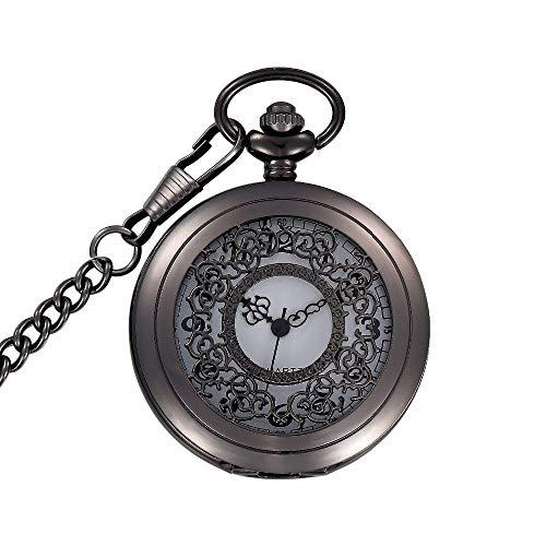 Vintage Vrouwen Mannen Voor Ketting Pocket Horloge Unisex, Nieuwigheid Zwart Eenvoudige Holle Quartz Pocket Horloge Taille Ketting Vrouwen Dames Meisje Beste Xmas Persoonlijkheid Gift