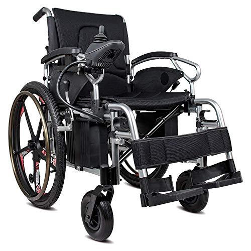 WXDP Autopropulsado Eléctrico, Plegable, Ligero, aleación de Aluminio, Ancianos, discapacitados, Inteligente, Negro