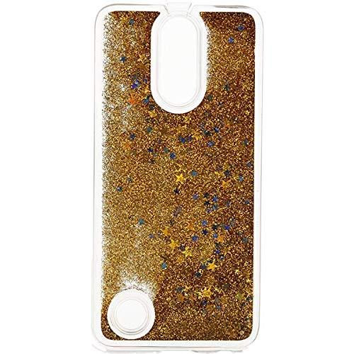 Funnycase - Carcasa para LG K10 2017, diseño de arenas movedizas de cristal líquido con purpurina, color dorado
