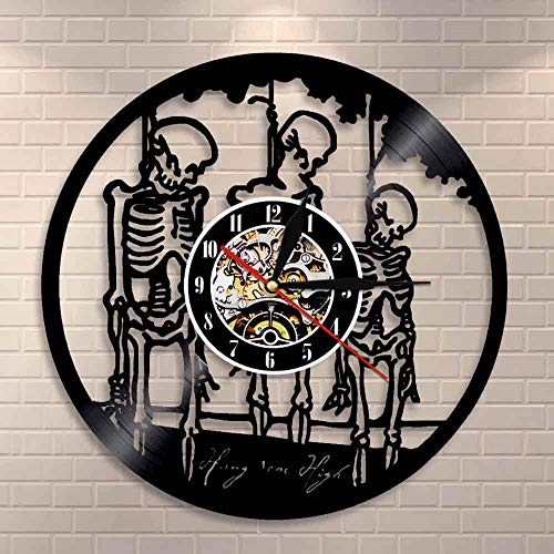 wtnhz LED-Colgarlos Alto Halloween Horror Wall Art Reloj de Pared Treble Skull SK Mano Cuerda Esqueleto Disco de Vinilo Reloj de Pared decoración del hogar