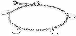 Cavigliera/bracciale con ciondolo rotondo in acciaio inossidabile 316L