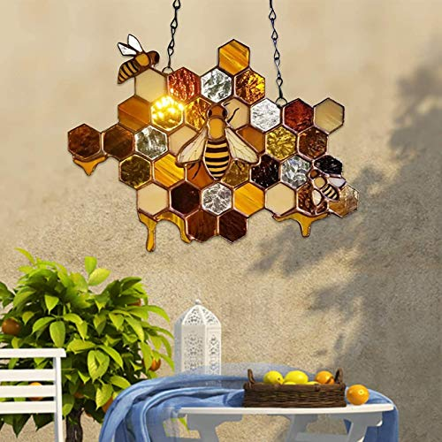 LUDAXUE Honeycomb Hanging Decor Queen and Bee Protect Honey Suncatcher Honeybee Window Hangings Ornament Bee Hive Decor Wall Art Hanging Pendant Ornament for Farmhouse Garden