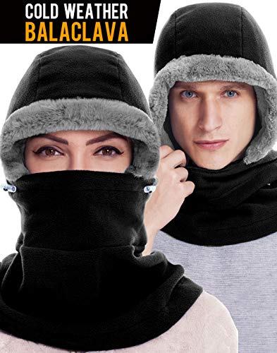 Dimples Excel Balaclava Fleece Hood Winter Warmer Ski Face Mask Wind Resistant for Men and Women, One Size Fits All (Black)