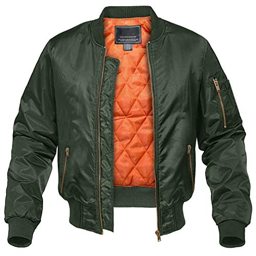 CRYSULLY Men Bomber Jacket Casual Softshell Sportswear Mid-Weight Flight Jacket Army Green