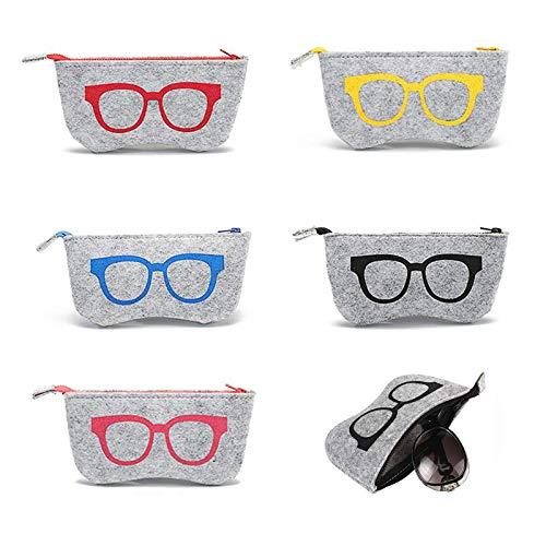 Ltsbaed Brillentasche Stoff Filz Reißverschluss Brillen Sonnenbrillen Tasche Brillenetui Tragbare Brillenetui Sonnenbrillenetuis Etui für Brillen Make up Aufbewahrungstasche (Zufällige Farbe) 4 Stück