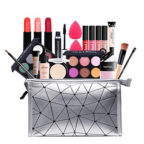 MKNZOME 20St Kosmetische Schmink Set, Multifunktions Schönheit Etui mit Lidschatten Lippengloss Rouge Concealer Usw für Gesicht, Augen und Lippen - Geschenk Kosmetik Produkte Set#1