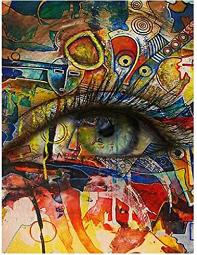 Diamond Painting by Numbers Kit Colored Eyes Full Drill 5D DIY Diamond Painting Large Adults Kids Handmade Embroidery Crystal Diamond Art Pictures Living Bedroom Wall Decor Round Drill 30x40cm