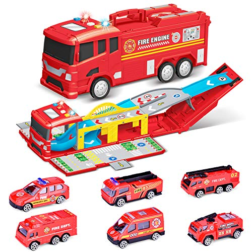 FUN LITTLE TOYS Electric Fire Truck Toy Car Carrier Truck Includes 6 Small Metal Trucks Toy Truck with Sounds and Lights for 1 - 8 Year Old Boys