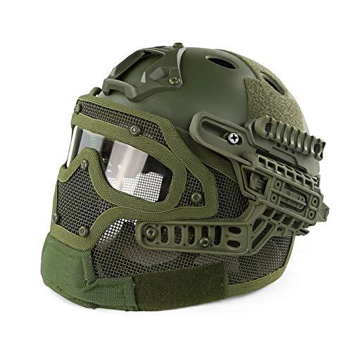 LHY HELMET Outdoor CS Taktischer Helm PJ-Typ Fast Molle mit Maske und Schutzbrille G4 System für Airsoft Paintball,B
