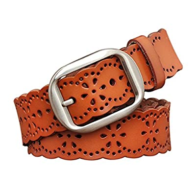TUNGHO Vintage Womens Hollow Flower Belt Genuine Leather Belts With Needle Buckle Plus Size Nice Gift Box(XL, Dark Brown)