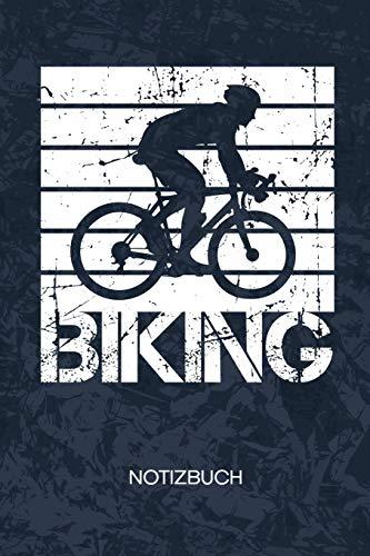 Biking: Radfahrer Notizbuch A5 Kariert - Fahrradfahrer Heft - Radsport Notizheft 120 Seiten KARO - Fahrrad Trikot Notizblock Retro Radsportler Motiv - Rennradfahrer Geschenk
