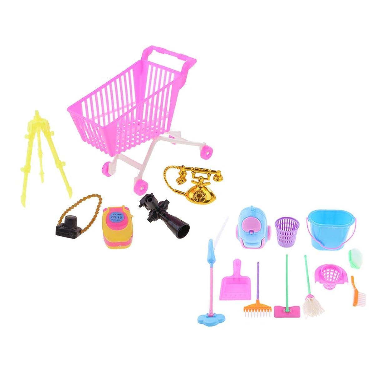 火山抑止する少し12インチアクションフィギュア人形用ショッピングカートセット&クリーニング家具玩具