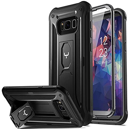 YOUMAKER Schutzhülle mit Standfuß für Galaxy S8 Plus, mit integriertem Bildschirmschutz, robust, stoßfest, für Samsung Galaxy S8 Plus 15,7 cm (6,2 Zoll), Schwarz/Schwarz