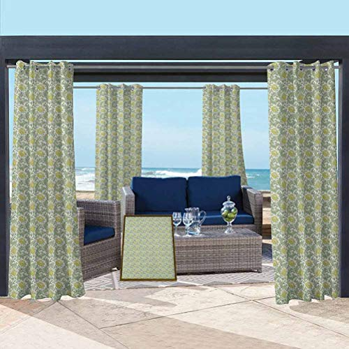 Floral Washable Curtains for Pergola/Sunroom Flourishing Nature Ornamental Victorian Design Inspired Foliage Leaves Pale Yellow Pale Green 108W x 63L Inch