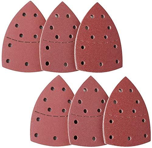 Klett Schleifpapier Set, 105 mm x 152 mm, 60 Stück, 11-Loch, je 20 x Korn 40/60/80/120/180/240, für Deltaschleifer Multischleifer Schleifblätter Dreieckige Schleifpads