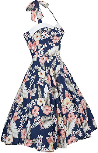 Küstenluder WANDA Hibiscus Aloha Vintage Neckholder SWING Dress Kleid Rockabill - 3