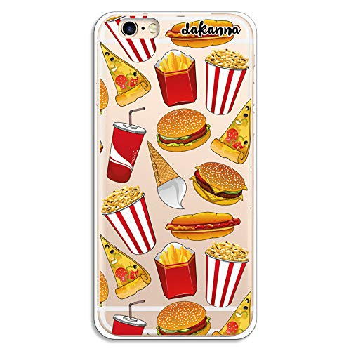 dakanna Funda para iPhone 6-6S | Hamburguesa, Refresco, Pizza y Palomitas | Carcasa de Gel Silicona Flexible | Fondo Transparente