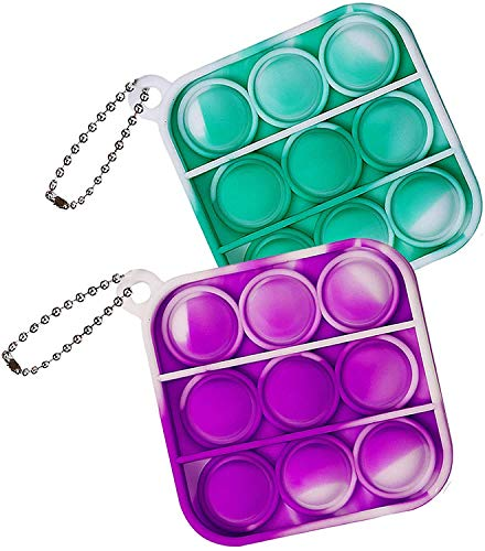 ZNNCO Push Pop Bubble Fidget Sensory Toy,Mini Tie Dye Pop Keychain to Relieve Emotional Stress for Autism Kids Adults (Green+Purple Square)