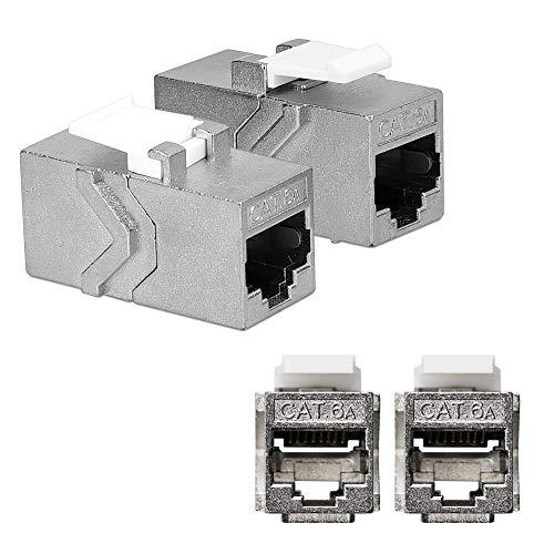 kwmobile 2X Adaptador Cable de Red RJ45 - Acoplador de Keystone para unir Cables Ethernet RJ 45 y CAT6 - Set 2X de Conectores - Conector de Red Hembra