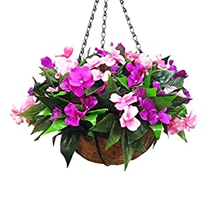 Mynse Set of Hanging Basket Artificial Impatiens Flowers Purple and Pink for Balcony Decoration
