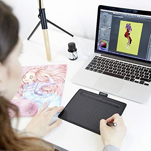 Wacom Intuos S Stift-Tablett (mit druckempfindlichem Stift & Bluetooth-Mobiles Zeichentablett zum Malen & Fotobearbeitung) schwarz - Ideal für Home-Office & E-Learning