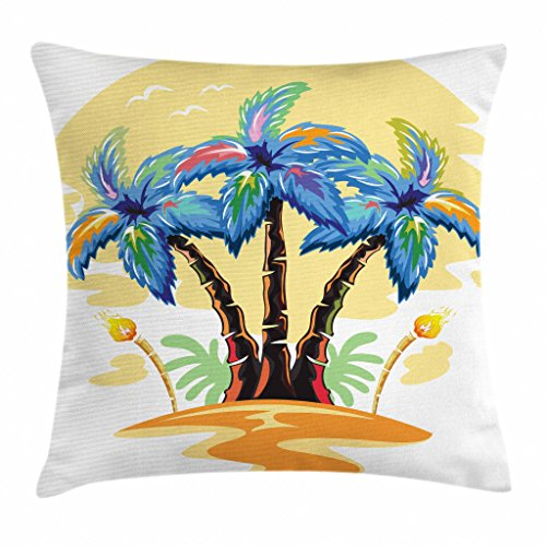 Ambesonne Palm Tree Throw Pillow Cushion Cover, Colorful Cartoon Tropical Island with Hawaiian Palm Trees Torch Seagulls Sunset, Decorative Square Accent Pillow Case, 18' X 18', Blue Orange