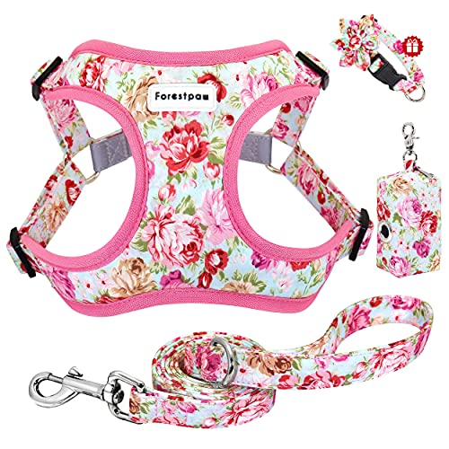 Forestpaw Floral Step in Dog Harness and Leash Set Soft and Reflective Vest Harness & Leash& Bag,Harness Set for Medium & Large Dogs