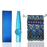Kazoo de aluminio con una hermosa caja de regalo y 5 membranas, mini instrumento musical para niños y adultos (Azul)