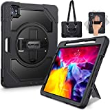 SUPFIVES iPad Pro 11 Case 2020 2nd Gen & 2018, [Military Grade Drop Tested] Heavy Duty Rugged Protective Case Soft Silicone Bumper + Apple Pencil Holder + Swivel Stand + Handle/Shoulder Strap- Black