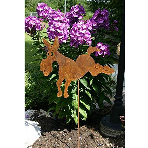 EQT-TEC Gartendekoration lustiger Esel Edelrost Figuren Garten Deko Dekoration Draußen