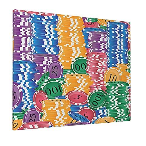 M-shop Pittura 16 'X 20' Casino Decorazioni Stacks Di Colorato Casino Chips Scommesse Fortuna Tempo Libero ripetizione Illustrazione Panoramica Tela Wall Art