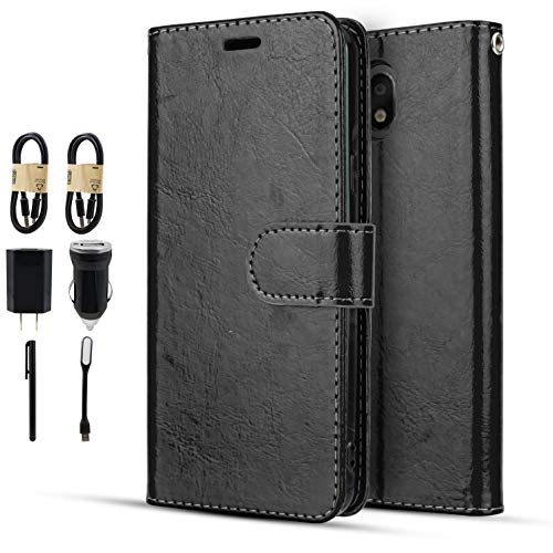 Compatible for LG Aristo 4+ Plus Case, Escape Plus/Prime 2/Arena 2/Tribute Royal/Journey LTE/K30 2019 Magnetic Flap Closure with 3 Card Slot and ID Holder Accessory Pack (Black)