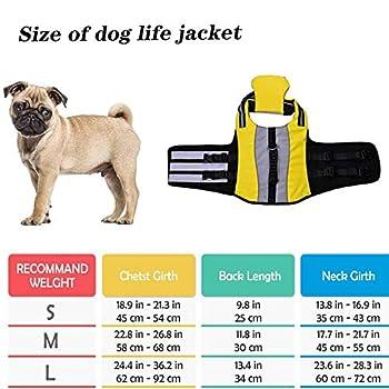 Pet Life Jacket Gilet de Sauvetage pour Chien Lifesaver Sécurité Gilet Réfléchissant Taille Réglable Dog Lifejacket pour Natation Surf Bateau de Chasse-S