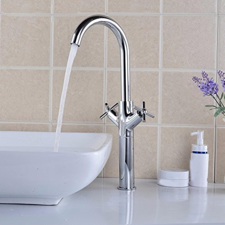 Bijjaladeva Wasserhahn Bad Wasserfall Mischbatterie Waschbecken Waschtisch Armatur für BadezimmerKalt Wasserhahn doppeltippen Waschbecken Mischbatterie mit Hohen