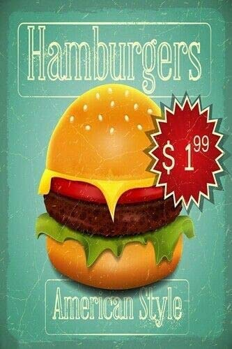 Fast Food Menu Metal Retro Home Kitchen Cafe Office Wall Decor 8x12 Inch