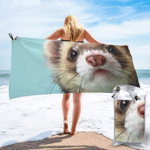 Ahdyr Beach Towel for Women, Microfiber Pool Towel for Grils, Alphabetical Ferret Outdoors Travel Quick Dry Towels