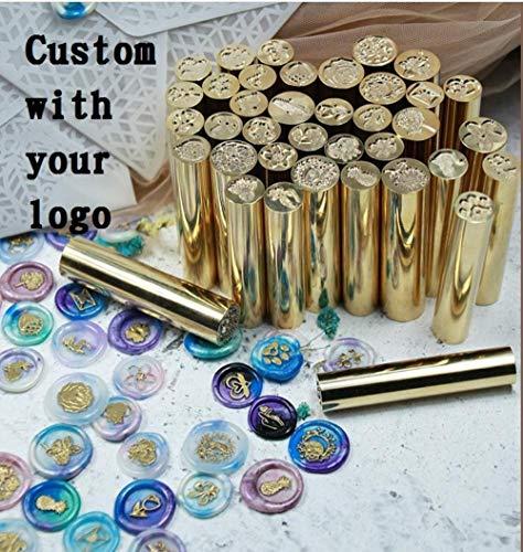 Aanpassen cilindrische zegel stempel Gepersonaliseerde afbeelding vintage envelop zegel stempel cilinder Ronde staaf messing Koperen stempel, 1,5 cm aangepast logo